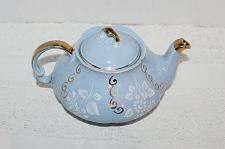 Buy Vintage Ellgreave Bone China Tea Pot Sky Blue with White Florals