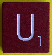 Buy Scrabble Tiles Replacement Letter U Maroon Burgundy Wooden Craft Game Part Piece