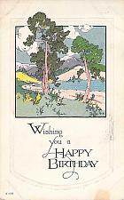 Buy Wishing You A Happy Birthday Peaceful Scene Artwork Vintage Postcard
