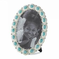 Buy *16936U - Turquoise Blue Sea Cabochon Oval Picture Frame Holds 5x7 Photo