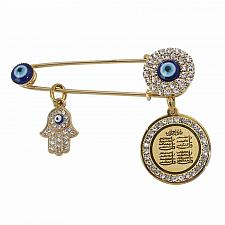 Buy Muslim islam hamsa hand fatima four Qul suras Allah Turkish evil eye Pin brooch