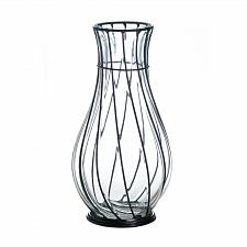 "Buy *18242U - Short 9"" Clear Glass & Metal Art Accent Vase"