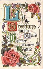 Buy Fancy Greetings and Regard Card Embossed Vintage Postcard