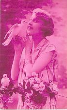 Buy French Young Woman with Dove Tinted Real Photo RPPC Unused Postcard