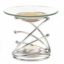 Buy 13895U - Modern Art Sculpture Silver Oil Warmer Glass Dish