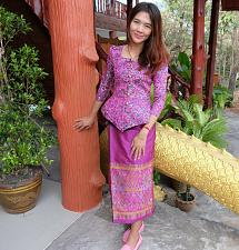 Buy Pink Purple Lao Laos 3/4 SLeeve Blouse Us Size 0 Sinh Skirt XS Clothing Costume