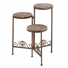 Buy D1091U - Rustic Triple Tier Metal Plant Stand Wood Shelves