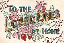 Buy To The Loved Ones at home, Craft Decorated with Glitter Vintage Postcard