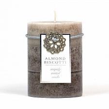 Buy :10660U - Almond Biscotti Scented Tan Tri-color Paraffin Wax 3X4 Pillar Candle