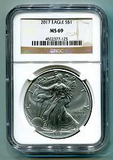 Buy 2017 AMERICAN SILVER EAGLE NGC MS69 CLASSIC BROWN LABEL AS SHOWN PREMIUM QUALITY