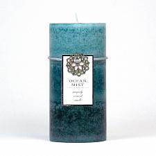 Buy :10667U - Ocean Mist Scented Blue Tri-color Paraffin Wax 3x6 Pillar Candle