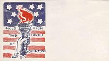 "Buy WWII US Patriotic Unused Unsealed Envelope ""Hold High The Torch of Civilization"""