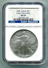 Buy 2007 SILVER EAGLE NGC MS69 EARLY RELEASES BLUE LABEL PREMIUM QUALITY NICE COIN