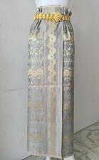 Buy Thai Myanmar Gray Gold Synthetic Silk Fabric For Skirt Wedding dress Longyi