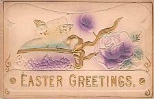 Buy Easter Greetings Chick and Flower Air Brush Embossed Vintage Postcard