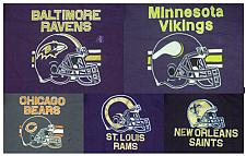 Buy HAND PAINTED NFL FOOTBALL T-SHIRT VIKINGS, RAVENS, BEARS, SAINTS, RAMS, 1pc.each
