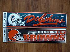 "Buy MIAMI DOLPHINS & CLEVELAND BROWNS 3""X12"" WINCRAFT NFL MADE IN U.S.A. STICKERS"