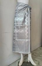 Buy Thai Myanmar Gray Silver Synthetic Silk Fabric For Skirt Wedding dress Longyi