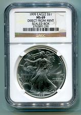 Buy 1999 AMERICAN SILVER EAGLE NGC MS69 DIRECT FROM MINT SEALED BOX BROWN LABEL PQ