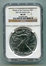 Buy 2011(S) AMERICAN SILVER EAGLE SAN FRANCISCO MINT LABEL NGC MS69 BROWN NICE COIN