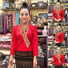 Buy Lao Laos Laotian Clothing Red Suea pat V-Neck Blouse Wrap Shirt Silk Size XS