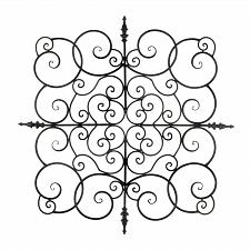 Buy *18758U - Square Curls Swirls Black Iron Wall Plaque
