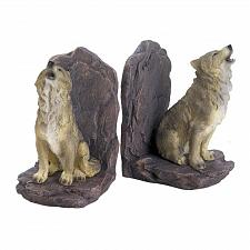 Buy *18439U - Howling Wolf On Rocks Polyresin Bookends