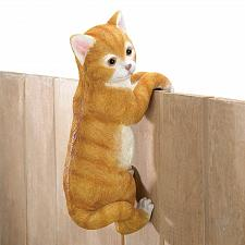 Buy *16383U - Climbing Tan Kitty Cat Amber Fence Edge Sitter Figurine