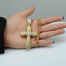 Buy Elvis Presley Maltese Big Cross Concert TCB GP Crystal Chain Necklace Pendant