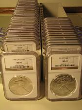 Buy 1986 - 2018 AMERICAN SILVER EAGLE 33 COIN SET NGC MS69 BROWN PREMIUM COINS PQ