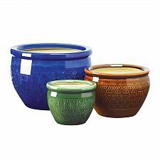 Buy 38899U - Jewel Tone Flower Design Ceramic Planters Plant Pot Set of 3