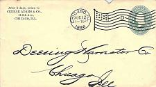 Buy 1896 Chicago D Flag (25/100) Cancel & Chicago American Received Backstamp Cover