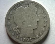 Buy 1893 BARBER QUARTER DOLLAR GOOD G NICE ORIGINAL COIN FROM BOBS COINS FAST SHIP