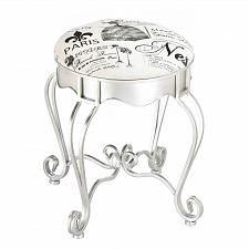Buy *17114U - Pretty In Paris Canvas Padded Silver Iron Metal Stool