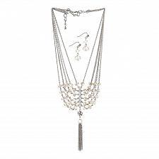 "Buy *16105U - Vintage Crystal Tassel 16"" Necklace & Hookback Earrings Jewelry Set"