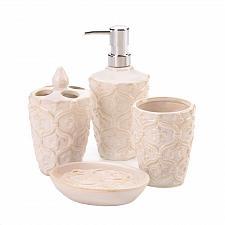 Buy *18748U - Fleur-De-Lis Bone White 4pc Bath Accessory Set