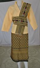 Buy Yellow Lao Laos Synthetic Silk 3/4 Sleeve Blouse Sinh Skirt Scaft Outfit Size XL