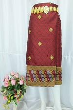 Buy Maroon Brown Lao Laos Silk Sinh Skirt Clothing Traditional Costume Size XL