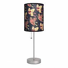 "Buy :10242U - Butterflies Dark Blue Shade 16 1/2"" Table Lamp Stainless Steel Base"