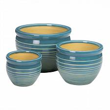 Buy *18724U - Ocean Breeze Stripe Ceramic Planter 3pc Set