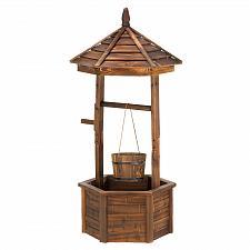 Buy 14652U - Rustic Wishing Well Wood Planter Yard Art