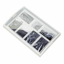 Buy *17442U - Photo Frame White Wood Serving Tray