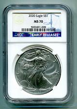 Buy 2020 AMERICAN SILVER EAGLE NGC MS70 CLASSIC EARLY RELEASES BLUE LABEL, AS SHOWN