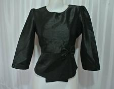 Buy Black Lao Laos synthetic silk 3/4 SLeeve Blouse Classic Neckline size 14 L B42Z