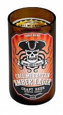 Buy :10872U - Amber Lager Beer Scented Pillar Brown Glass Jar Candle