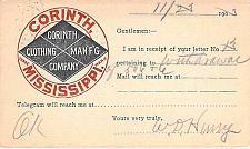 Buy 1903 UX18 Postal Card Corinth Clothing Mfg Advertising, Tuscaloosa Al. Postmark