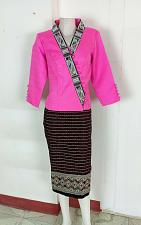 Buy Pink Lao Laos 3/4 Sleeve Blouse size 12 Cotton Sinh Skirt L For Laos New Year
