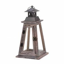 "Buy *17539U - Ideal 17"" Brown Wood Pryamid Large Candle Lantern"