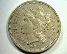 Buy 1867 THREE CENT NICKEL CHOICE ABOUT UNCIRCULATED+ CH.AU+ NICE ORIGINAL COIN