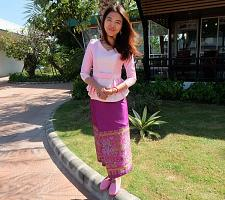 Buy Pink Lao Laos 3/4 SLeeve V neck Blouse Us Size 0 Sinh Skirt XS Clothing Costume